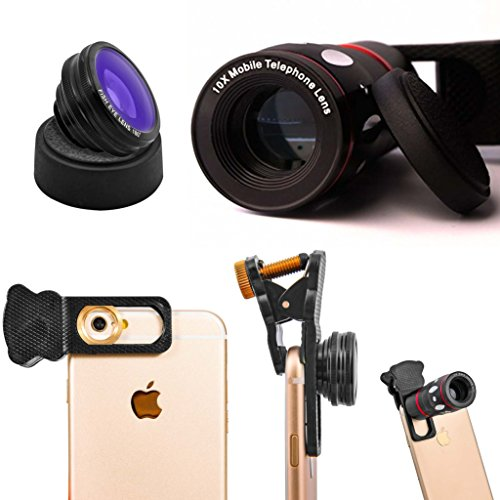 Cell Phone Lens Kit 4 in 1 by Snappy Pics |iPhone, Android, Samsung, Smartphones, HTC, ipad, Tablets, Laptops Glass 10x Zoom Telescope + Fish-eye +Wide-angle + Macro Lens