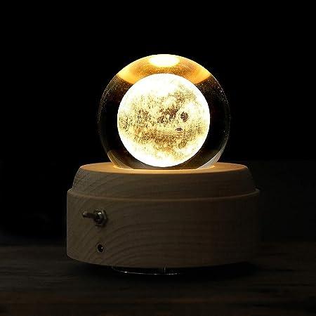 WOHAO Juguetes sonoros Cajas de música Caja de música de Madera música de la manivela decoración de la Caja Crystal Ball (Color: Principito, Tamaño: Libre) (Color : Moon, Size : Free): Amazon.es: