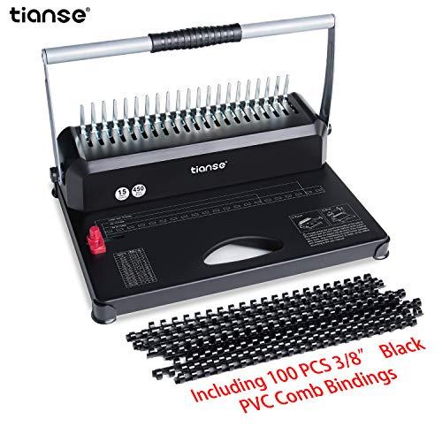 Binding Machine, TIANSE 21-Holes, 450 Sheets, Comb Binding Machine with 100 PCS 3/8