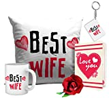 TiedRibbons® Romantic Valentines Gifts Best Wife Gift Combo (Cushion,Coffee Mug,Keyring,Rose with Greeting Card)