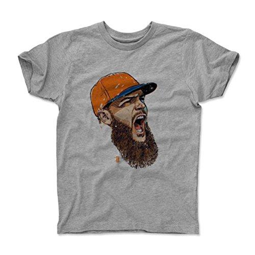 500 LEVEL's Dallas Keuchel Youth & Kids T-Shirt 6-7Y Heather Gray - Dallas Keuchel Scream O - Houston Baseball Fan Gear Officially Licensed by the MLB Players Association