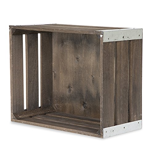 The Lucky Clover Trading Three Slat Wood Crate Metal Corner, Antique Brown, Set of 3