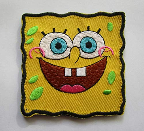 Spongebob Sponge BOB Military Patch Fabric Embroidered Badges Patch Tactical Stickers for Clothes with Hook & Loop]()