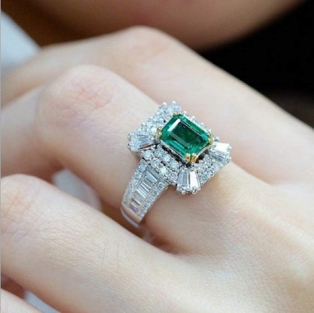 Fashion Learf Rings for Women 925 Silver Jewelry Round Cut Emerald Ring Size6-10