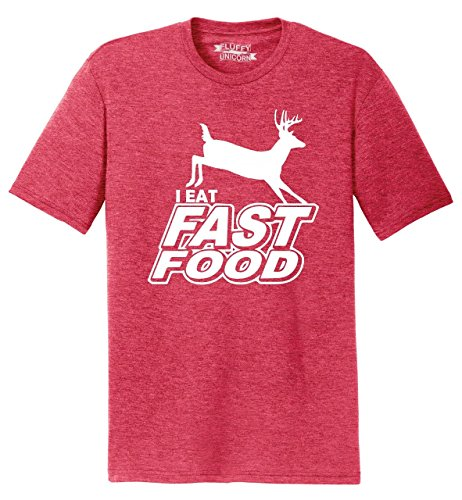 Eat Fast Food Funny Hunter Hunting Deer Shirt Red Frost 3XL (Comical Deer Hunter)