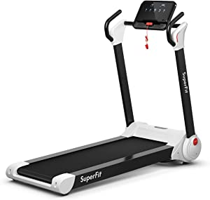 GYMAX Folding Treadmill, 2.25HP Electric Motorized Running Walking Machine with LED Touch Screen & Bluetooth Speaker, Portable Cardio Workout Treadmill for Home Gym Office