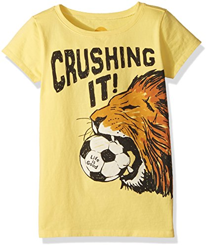 Life is Good Girl's Crusher Crushing It Soccer, Happy Yellow, (Soccer Crusher)