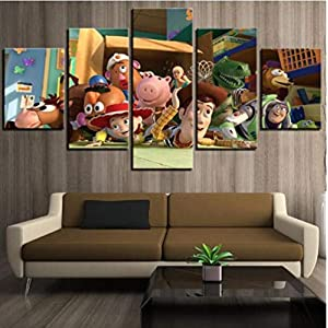 ZKPGUA Prints on Canvas 5 Pieces Toy Story Painting Poster Canvas Wall Art Picture Home Decoration Living Room Decor (Size A) No Frame
