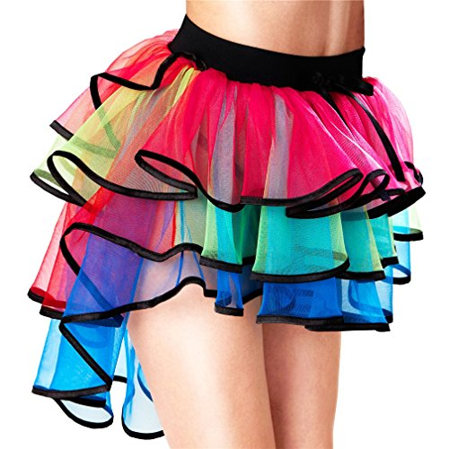 Lealac Bustle Skirt Women's Layered Dancing Long Tail Skirt Lingerie Holloween Bubble Skirt, Rainbow Color One Size L41-TS009 -