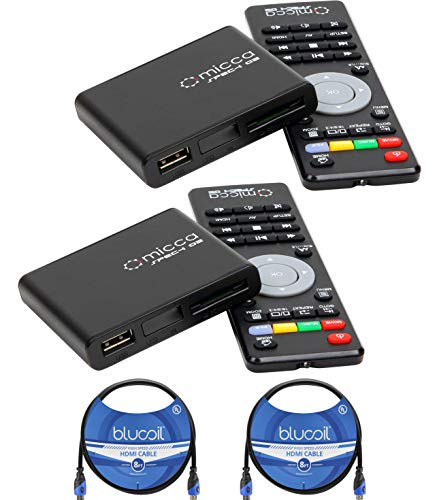 Micca Speck G2 1080p Full-HD Ultra Portable Digital Media Players (2-Pack) Bundle with Blucoil 2-Pack of 8-FT HDMI Cables (Ultra Portable Dvd Player)