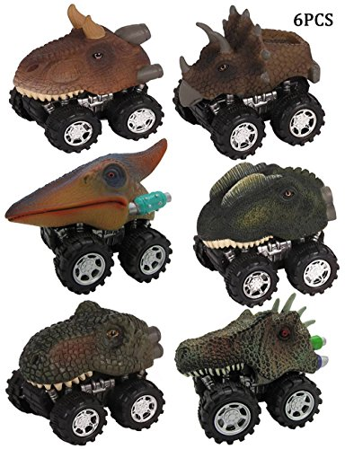 Enkman Dinosaur Vehicle, 6PCS Wind-up Car Toy, Creative Dinosaur Cars, Easter Gift for Preschool Boys and Girls, Halloween, Birthday Party Presents