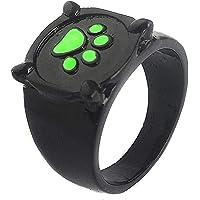 TYTOGE Anillos Cat Noir, Anillo de Dedo con Estampado de Pata de Perro con Pata de Gato Verde Anime Cosplay Anillo de…