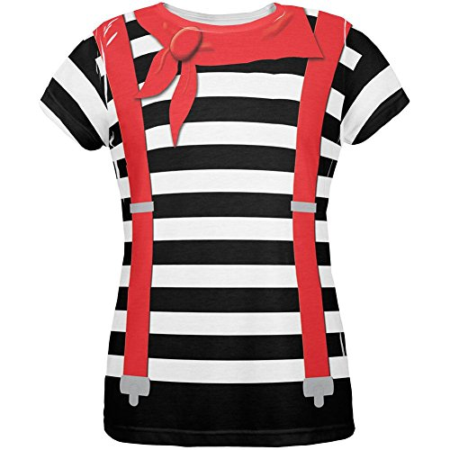 Mime Halloween Outfit (Halloween French Mime Costume All Over Womens T Shirt Multi)
