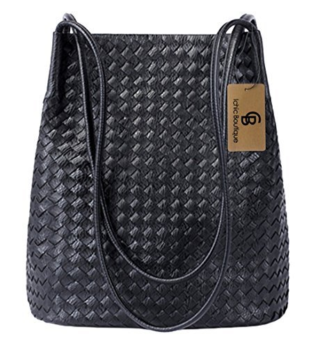 Bucket Bags Womens Leather Handbags Purse Woven Totes Hobos Shoulder (Woven Leather Purse)