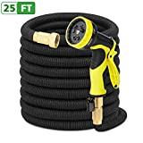 Antenors Garden Hose 25ft Expanding Flexible Water Hose Bonus 9-Pattern Sprayer Nozzle, Storage Bag, Hose Hook, 3/4'' Solid Brass Fittings Expandable Hose for Watering, Washing, Pet Showering