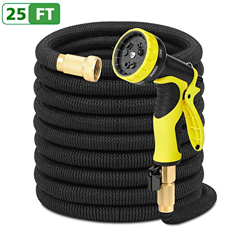 Antenors Garden Hose 25ft Expanding Flexible Water Hose Bonus 9-Pattern Sprayer Nozzle, Storage Bag, Hose Hook, 3/4'' Solid Brass Fittings Expandable Hose for Watering, Washing, Pet Showering by Antenors