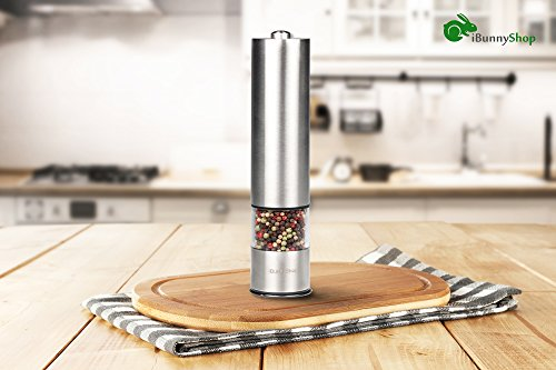 iBunny Premium Stainless Steel Electric Pepper Grinder or Salt Grinder Mill, Battery Operated with Light and Adjustable Ceramic Grinder by iBunnyShop (Image #6)