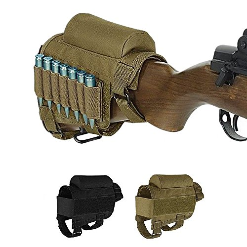 (Pure Direct Rifle Cheek Riser, Tactical Rifle Buttstock Cheek Rest Pad with 7 Rifle Stocks Holder for 308 - .300Winmag (Khaki))