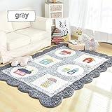Korean Style Non-slip Carpet Living Room Bedroom Rectangular Bedside Coffee Table Crawling Mat ( Color : Gray , Size : 150CM210CM )