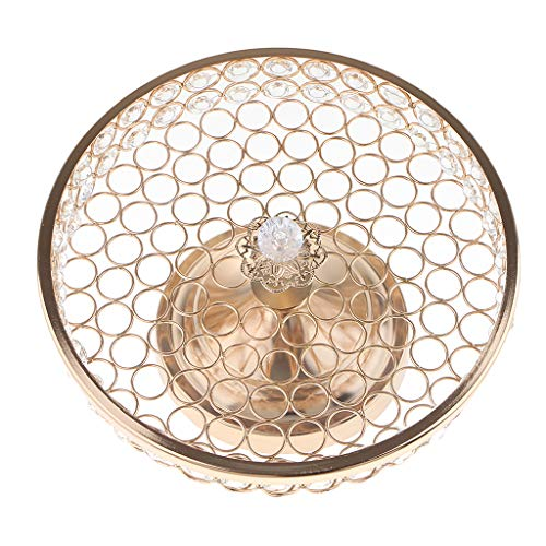 Flameer Footed Fruit Tray Centerpiece Platter Plate Cake Dish Bowl with Glass Cover for Home Hotel Decoration - Gold