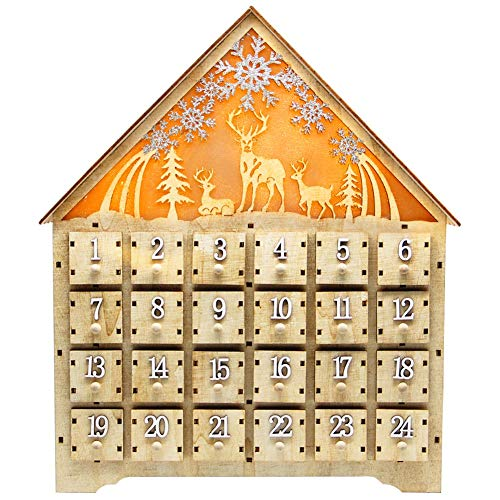 SAND MINE Countdown to Christmas Wooden LED Lighted Advent Calendar, 24 Drawers