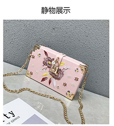 Vintage Cross Small Embroidery Pink for Flap Single Purse Chain Body Shoulder Messenger Quilted Bag Women Strap 5ppqU
