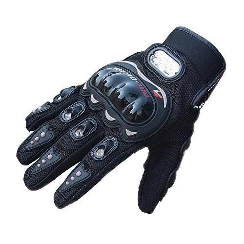 Men's Motorcycle Gloves, Tougs Anti Slip 3D Hard Shell Protective Full Finger Motorbike Racing Cycling Bike Bicycle Riding Gloves - Black Size XL