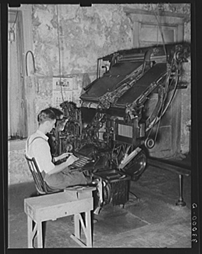 Linotype operator. Newspaper office. San Augustine, Texas by Historic Photos