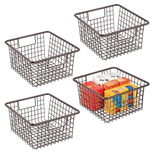 mDesign Farmhouse Metal Wire Storage Organizer Bin Basket Holder with Handles – for Home, Office Supplies, Desk, Paper…