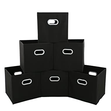 MAX Houser Fabric Storage Bins Cubes Baskets Containers with Dual Plastic Handles for Home Closet Bedroom Drawers Organizers, Flodable, Set of 6 (Black)