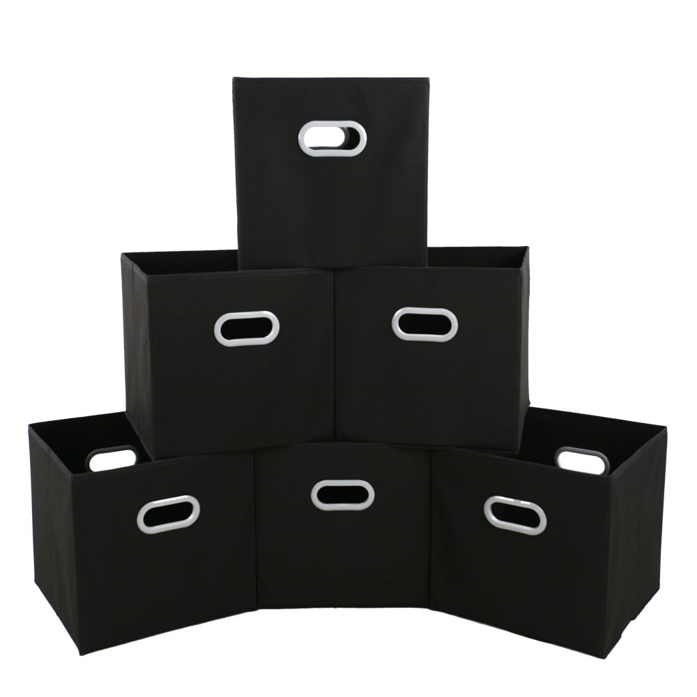 MAXhouser Fabric Storage Bins Cubes Baskets Containers with Dual Plastic Handles for Home Closet Bedroom Drawers Organizers, Flodable, Black, Set of 6