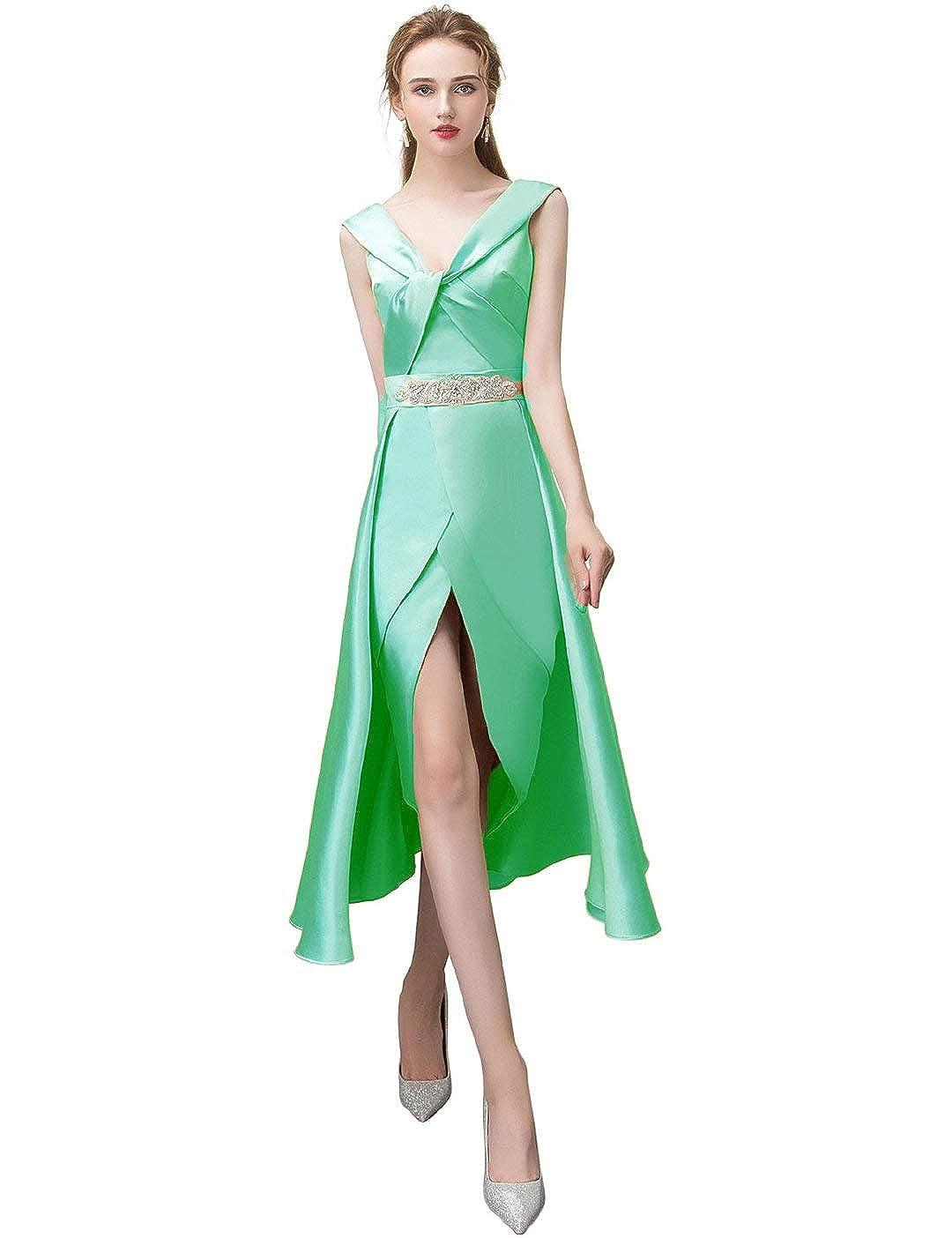 Mint Green Anshirlisa Women's Sleeveless Credver Pleat HighLow Satin Gown Dress