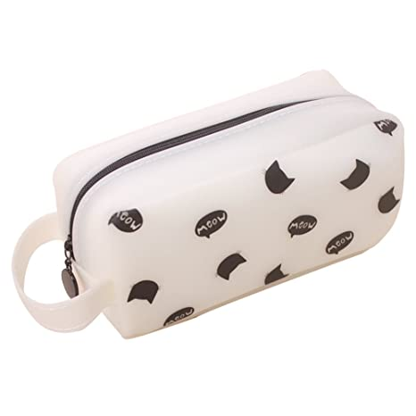 Amazon.com: Pencil Case, Morenitor Cute Cat Pattern Canvas Stationer Pencil Bag Office and School Supply for Teens Girls and Boys (White Cat)
