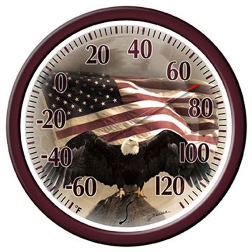Springfield Bald Eagle Low Profile Patio Thermometer (13.25-Inch) ()