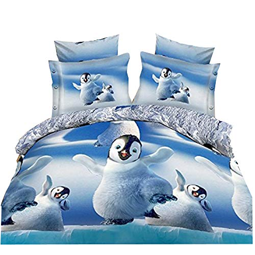 (Newrara Penguin Bedding Happy Dancing Polar Penguins 3D Printed 4Pcs Bedding Set Duvet Cover Set Full Queen Size for Kids )