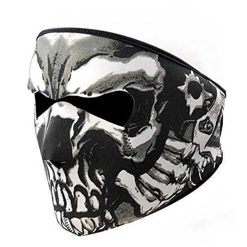 Mask Face Motorcycle Graphic (Graphic Style Skull Black Neoprene Adjustable 2 in 1 Reversible Full Face Mask Motorcycle Snowboard Ski)