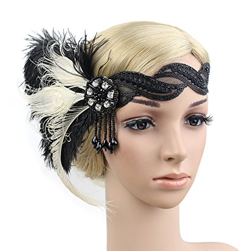 (KMVEXO Women's 1920s Flapper Feather Lace Headband Roaring 20s Crystal Beaded Tassel Party)