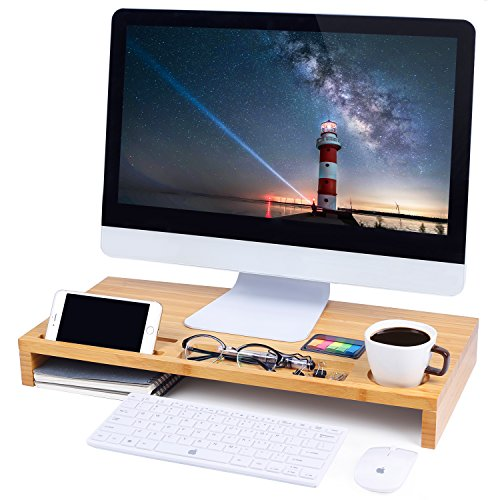 Tv Stand Corner Maple (Computer Monitor Stand, Desktop ,Laptop Stand Riser with Keyboard Storage Space for Home & Office Use by Ecobambu.)