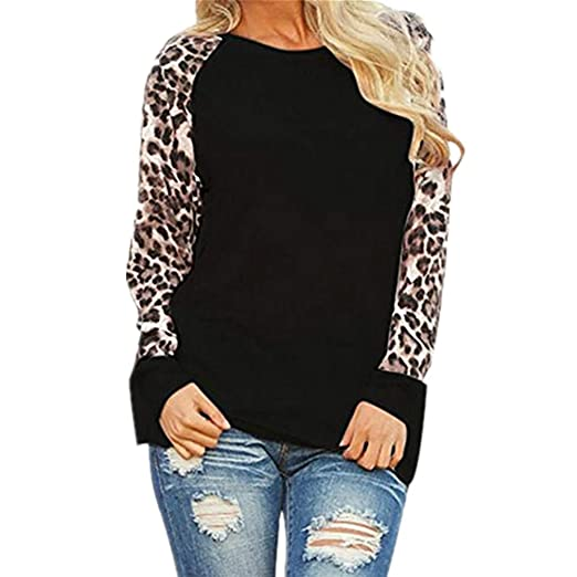 a426196b7e89 Women Long Sleeve Blouses Round Neck Leopard Print Shirts Fashion Ladies  Casual Loose Plus Size Tops