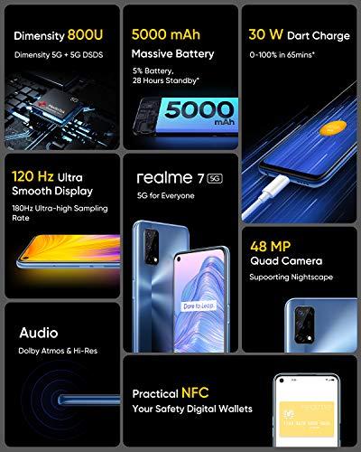 realme 7 5G - smartphone de 6.5, 6GB RAM + 128GB de ROM, 120Hz Ultra Smooth Display, 48MP Quad Camera, batería con…