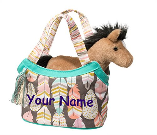 Personalized Douglas Pink and Gold Feathers and Horse Sassy Kidz Fashion Pet Sak Stuffed Animal Toy with -