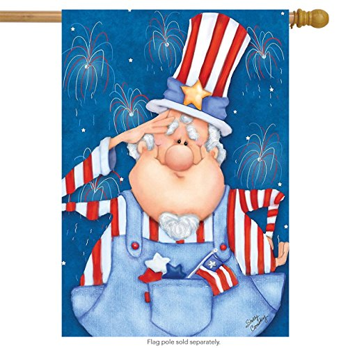 Briarwood Lane Uncle Sam Fourth of July House Flag Patriotic Humor Fireworks 28