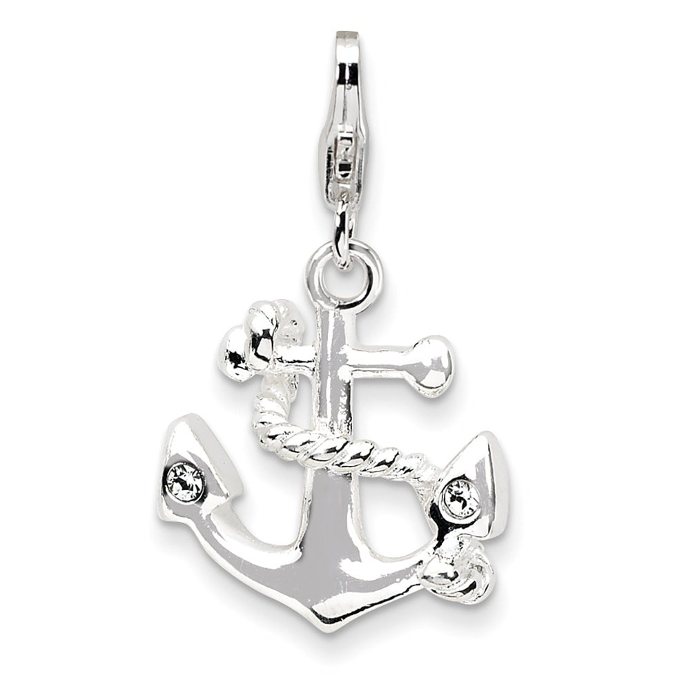 Lex /& Lu Sterling Silver 3-D Enameled Anchorw//Lobster Clasp Charm