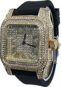 Amazon Com Techno Pave Gold Finish Iced Out Lab Diamond Face Mens Watch Black Band Rectangle