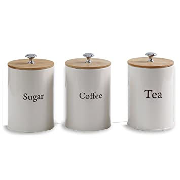 Exceptionnel Coffee/Tea/Sugar Canister Set With Bamboo Lids