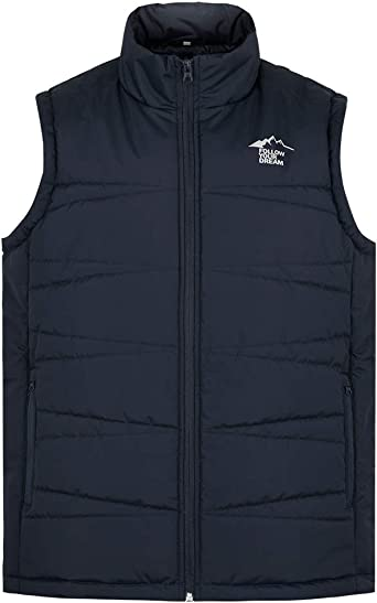 Bravepe Men Glossy Stand Collar Plus Size Sleeveless Zip Up Down Quilted Vest Puffer Jacket Outerwear