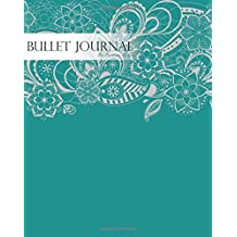 "Bullet Journal Notebook Dotted Grid,Graph Grid-Lined Paper, Large, 8""x10"",150 Pages: Grey Paisley Floral Drawing Teal Blue Cover: Master Journaling with Bullet Guide System Professional Journal"