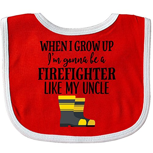 Inktastic - Future Firefighter Like My Uncle Baby Bib Red/White - Firefighter Baby Future Bib