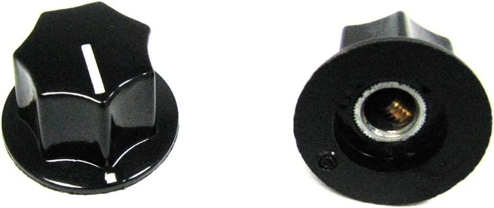 """6 Pack Plastic Push On 1//4/"""" Knobs Black With White Cap /& Pointer"""