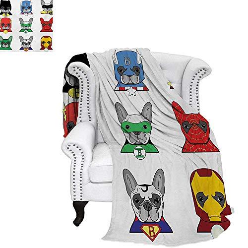 warmfamily Superhero Summer Quilt Comforter Bulldog Superheroes Fun Cartoon Puppies in Disguise Costume Dogs with Masks Print Digital Printing Blanket 60